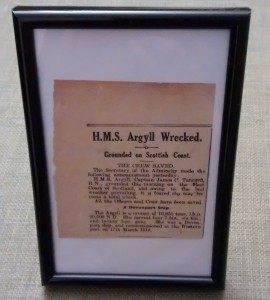 Newspaper clipping of the wreck of the Argyll